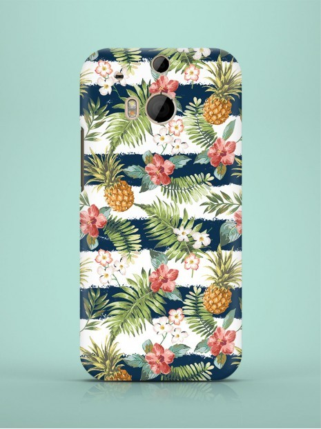 Dark Blue Striped Pineapples Case