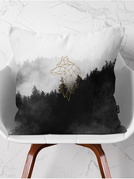 Throw Pillow Golden Wolf