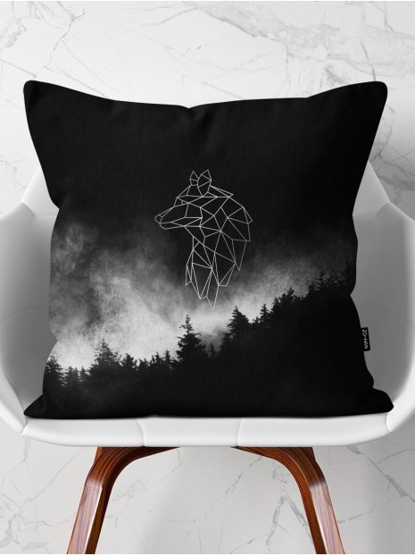 Throw Pillow Silver Wolf