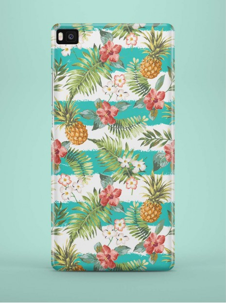 Cyan Striped Pineapples Case