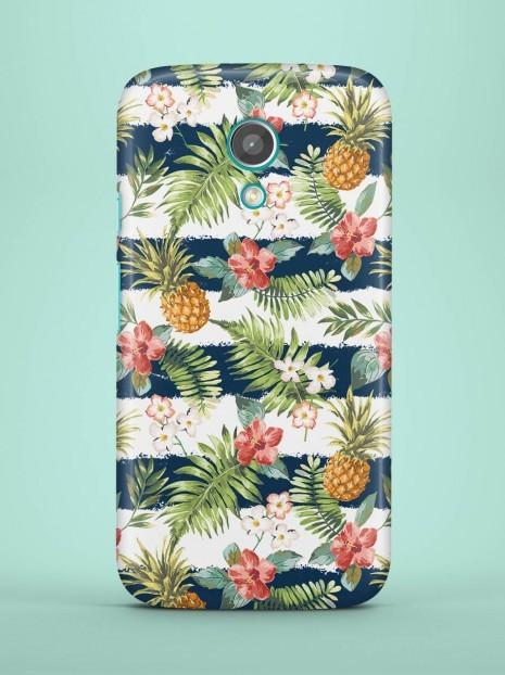 Dark Blue Striped Pineapples Case