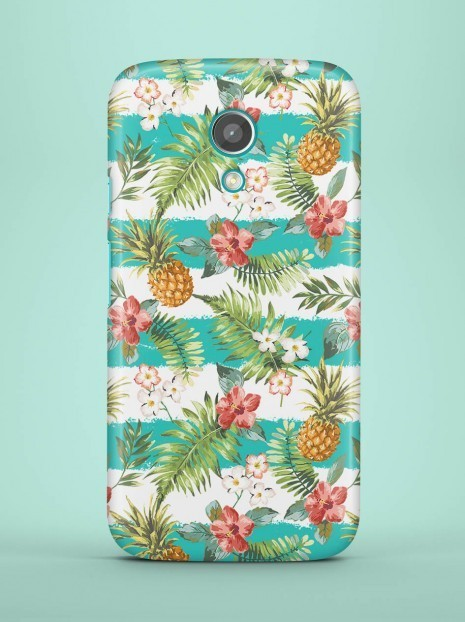 Cyan Striped Pineapples Case