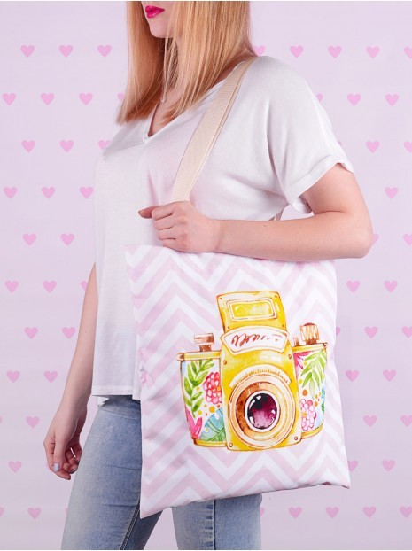 Shopper Bag Yellow Retro Camera