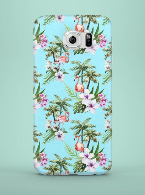 Blue Exotic Flamingos Case