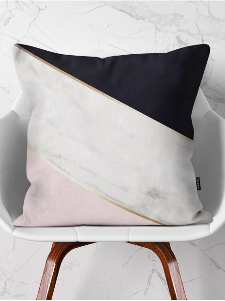 Throw Pillow White Marble Mix