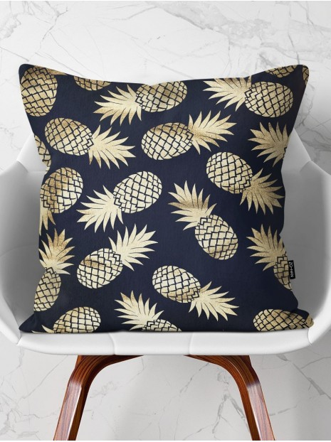 Throw Pillow Golden Pineapples